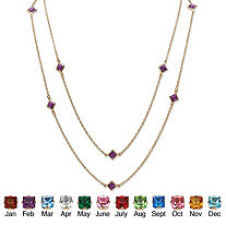SETA JEWELRY Princess-Cut Simulated Birthstone Station Necklace in Yellow Gold Tone 48