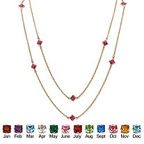 """Princess-Cut Simulated Birthstone Station Necklace in Yellow Gold Tone 48"""""""