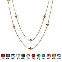 Princess-Cut Birthstone Station Necklace in Yellow Gold Tone 48""