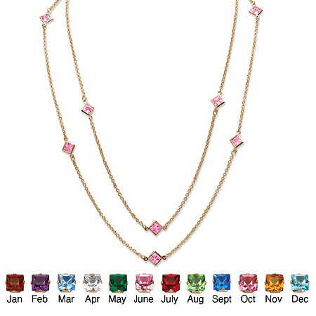 """Princess-Cut Simulated Birthstone Station Necklace in Yellow Gold Tone 48"""" at Direct Charge presents PalmBeach"""