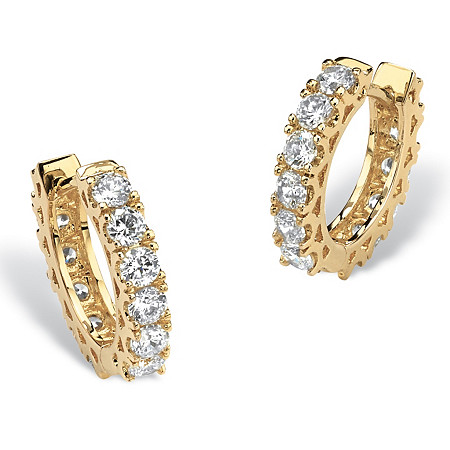 2.40 TCW Round Cubic Zirconia Huggie-Hoop Earrings 14k Gold-Plated (.5