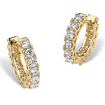 "2.40 TCW Round Cubic Zirconia Huggie-Hoop Earrings 14k Gold-Plated (1/2"")"