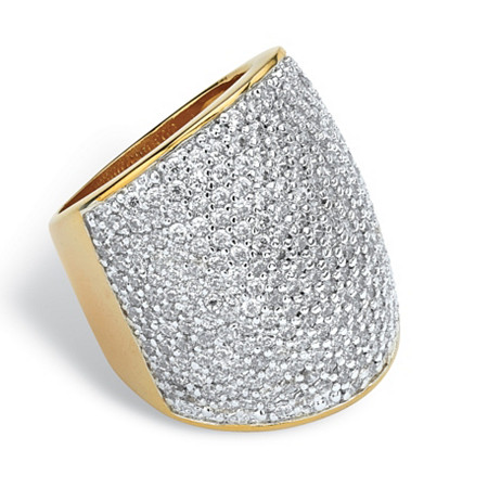 4.13 TCW Round Cubic Zirconia 14k Gold-Plated Pave-Set Dome Ring at PalmBeach Jewelry