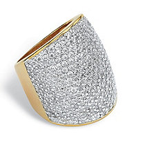 4.13 TCW Round Cubic Zirconia 14k Gold-Plated Pave-Set Dome Ring