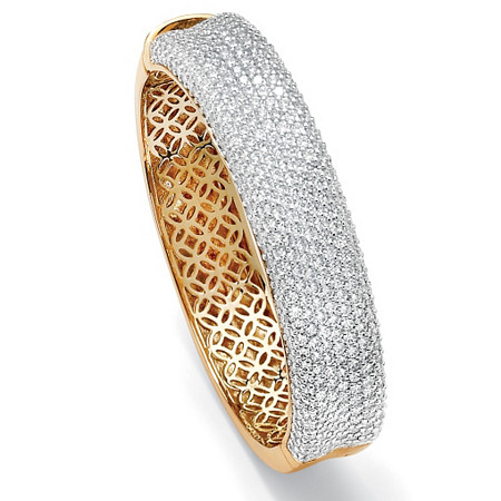 "11.55 TCW Round Cubic Zirconia 14k Gold-Plated Pave Bangle Bracelet 7"" at PalmBeach Jewelry"