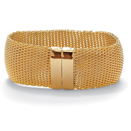 "Mesh Bangle Bracelet in Yellow Gold Tone 8"" at PalmBeach Jewelry"