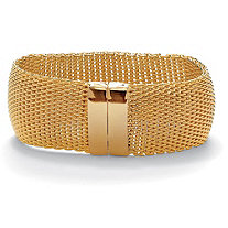 Mesh Bangle Bracelet in Yellow Gold Tone 8""