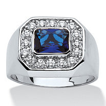 Men's .53 TCW Bezel-Set Blue Glass and Cubic Zirconia Octagon Ring in Silvertone Sizes 9-16
