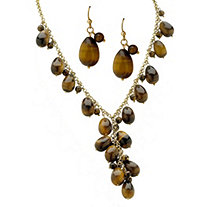 Genuine Tiger's Eye Beaded Y Necklace and Earrings 2-Piece Set in Yellow Gold Tone