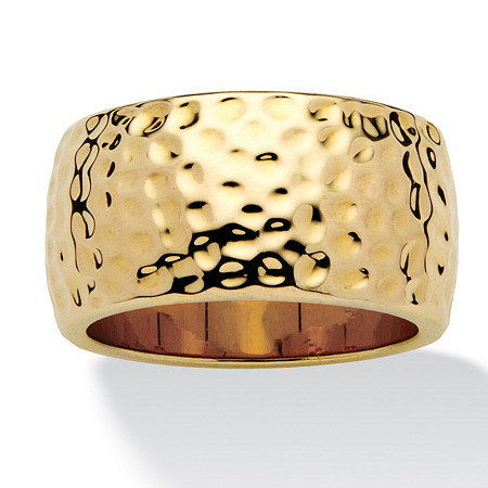 14k Yellow Gold-Plated Hammered-Style Band (11mm) at PalmBeach Jewelry
