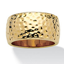 14k Yellow Gold-Plated Hammered-Style Band (11mm)