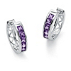 Related Item Princess-Cut Channel-Set Birthstone Sterling Silver Hoop Earrings (3/4