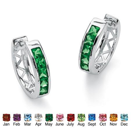 Princess-Cut Channel-Set Birthstone Sterling Silver Hoop Earrings (24mm) at PalmBeach Jewelry
