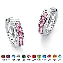 "Princess-Cut Channel-Set Birthstone Sterling Silver Hoop Earrings (3/4"")"