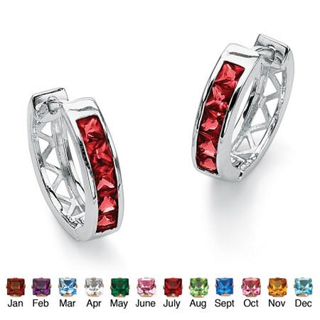 Princess-Cut Channel-Set Birthstone Sterling Silver Hoop Earrings (3/4