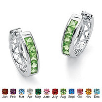Princess-Cut Channel-Set Birthstone Sterling Silver Hoop Earrings (24mm)