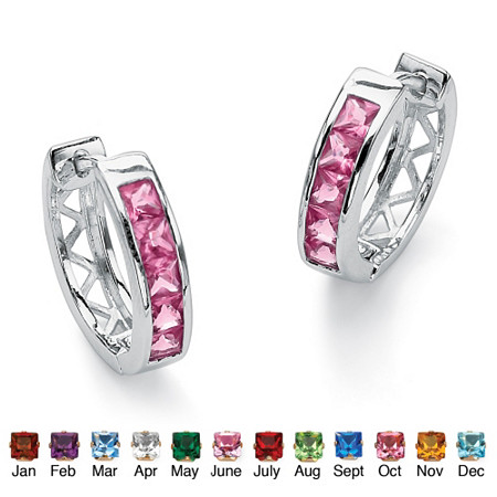 Princess-Cut Channel-Set Birthstone Sterling Silver Hoop Earrings (24mm) at PalmBeach Jewelry