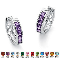 "Princess-Cut Channel-Set Simulated Birthstone Sterling Silver Hoop Earrings (3/4"")"