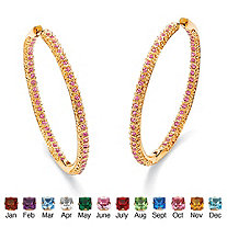 Birthstone 14k Yellow Gold-Plated Inside-Out Hoop Earrings
