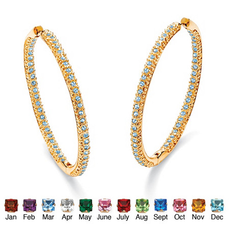 Birthstone 14k Yellow Gold-Plated Inside-Out Hoop Earrings at PalmBeach Jewelry