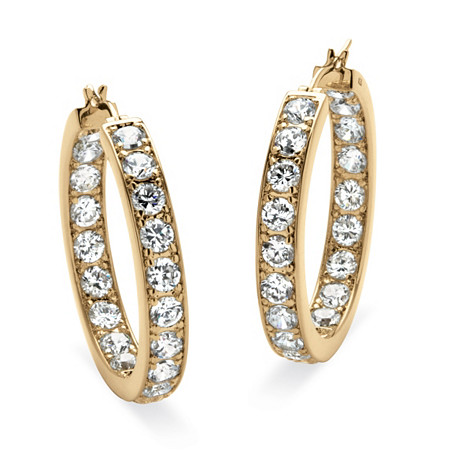 """9.50 TCW Round Cubic Zirconia Yellow Gold-Plated Inside-Out Hoop Earrings (1 1/2"""") at PalmBeach Jewelry"""