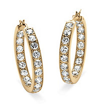 "9.50 TCW Round Cubic Zirconia 14k Yellow Gold-Plated Inside-Out Hoop Earrings (1 1/2"")"