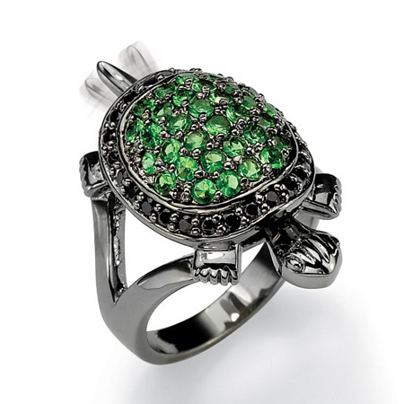.52 TCW Black Cubic Zirconia and Green Crystal Black Rhodium-Plated Turtle Ring at PalmBeach Jewelry