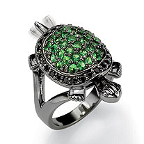 .52 TCW Black Cubic Zirconia and Green Crystal Black Rhodium-Plated Turtle Ring