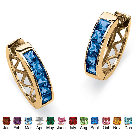 Channel-Set Birthstone 18k Gold-Plated Huggie-Hoop Earrings (3/4