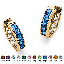 "Channel-Set Simulated Birthstone 18k Gold-Plated Huggie-Hoop Earrings (3/4"")"