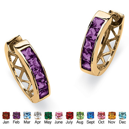 Channel-Set Birthstone 18k Gold-Plated Huggie-Hoop Earrings at PalmBeach Jewelry