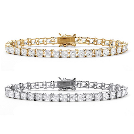 "Princess-Cut Cubic Zirconia Tennis Bracelet 2-Piece Set 26.64 TCW in 18k Gold over Sterling Silver and Sterling Silver 7.5"" at PalmBeach Jewelry"
