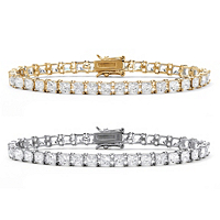 Princess-Cut CZ Tennis Bracelet 2-Piece Set 26.64 TCW In 18k Gold Over Sterling Silver And Sterling Silver ONLY $74.99