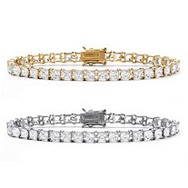 SETA JEWELRY Princess-Cut Cubic Zirconia Tennis Bracelet 2-Piece Set 26.64 TCW in 18k Gold over Sterling Silver and Sterling Silver 7.5