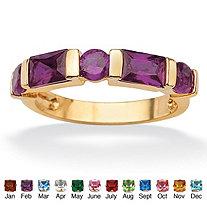 Channel-Set Emerald-Cut Birthstone 18k Gold-Plated Ring