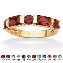 Channel-Set Emerald-Cut Birthstone 18k Gold-Plated Ring
