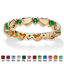 Round Birthstone 18k Gold-Plated Heart Eternity Stack Ring