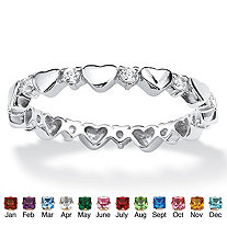 Birthstone Interlocking Stackable Eternity Heart Ring in .925 Sterling Silver