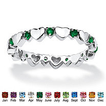 SETA JEWELRY Birthstone Interlocking Stackable Eternity Heart Ring in .925 Sterling Silver