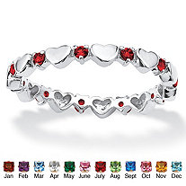 Birthstone Stackable Eternity Heart Ring in .925 Sterling Silver