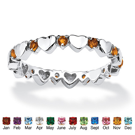 Birthstone Stackable Eternity Heart Ring in .925 Sterling Silver at PalmBeach Jewelry