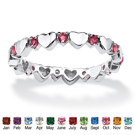 Birthstone Interlocking Stackable Eternity Heart Ring in .925 Sterling Silver at PalmBeach Jewelry