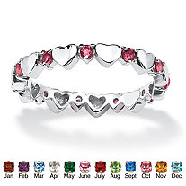 Simulated Birthstone Interlocking Stackable Eternity Heart Ring in .925 Sterling Silver