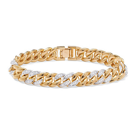 "Men's 1.35 TCW Round Cubic Zirconia 14k Yellow Gold-Plated Curb-Link Bracelet 8"" at PalmBeach Jewelry"