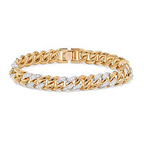 SETA JEWELRY Men's 1.35 TCW Round Cubic Zirconia 14k Yellow Gold-Plated Curb-Link Bracelet 8
