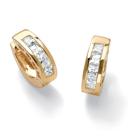 "2.96 TCW Princess-Cut Cubic Zirconia Huggie-Hoop Earrings 14k Gold-Plated (3/4"") at PalmBeach Jewelry"