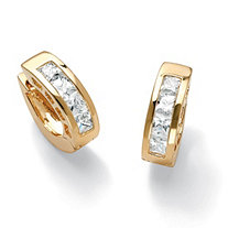 "2.96 TCW Princess-Cut Cubic Zirconia Huggie-Hoop Earrings 14k Gold-Plated (3/4"")"