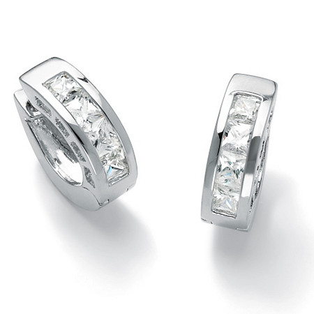 2.96 TCW Princess-Cut Cubic Zirconia Channel-Set Huggie-Style Hoop Earrings in Silvertone at PalmBeach Jewelry