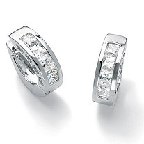 "2.96 TCW Princess-Cut Cubic Zirconia Channel-Set Huggie-Style Hoop Earrings in Silvertone (3/4"")"
