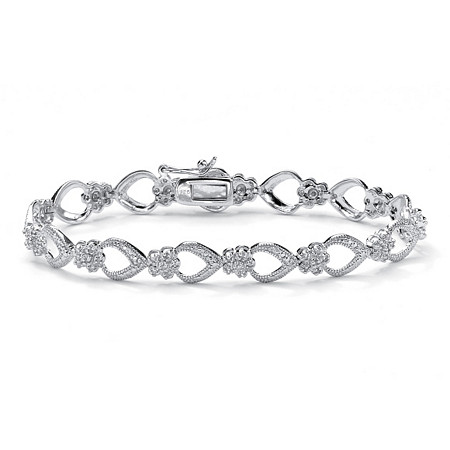 3/8 TCW Diamond Flower-Link Bracelet in Platinum over .925 Sterling Silver 7.25